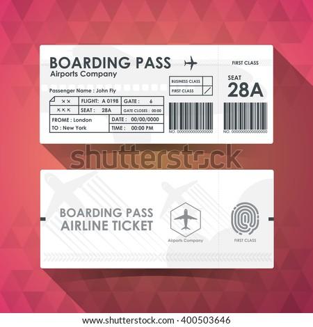 Boarding pass ticket white paper design. vector illustration. - stock vector