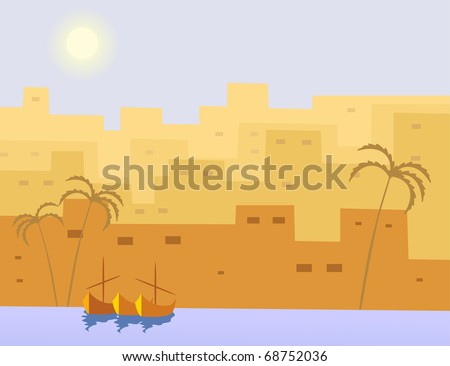 boat and city - stock vector