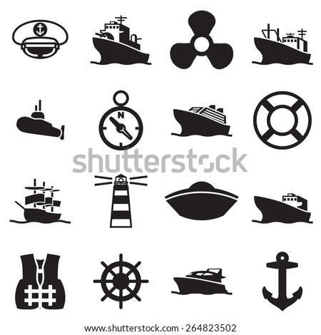 boat and ship symbols and icon - stock vector