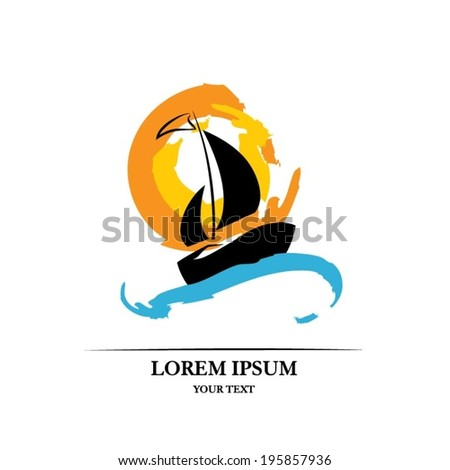 Boat and sun - stock vector