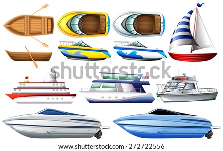 Boat collection isolated on white - stock vector