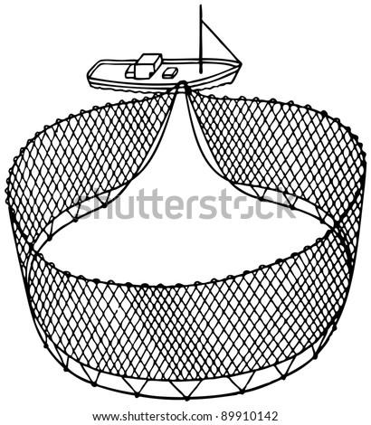 Boat fishnet - stock vector