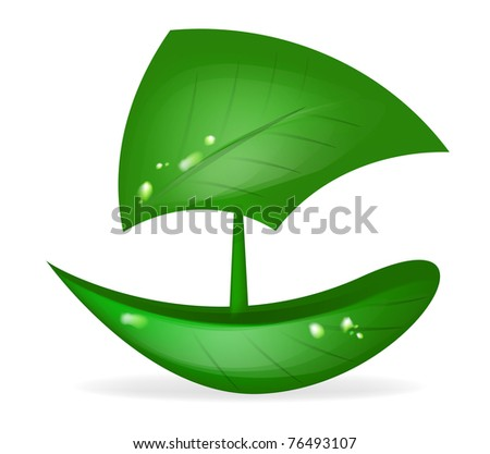 boat green leaf vector eco transport - stock vector