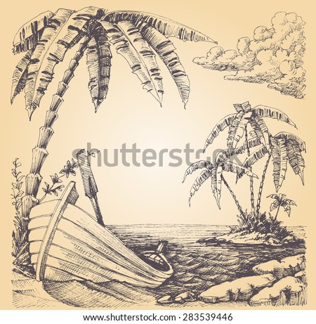 Boat on sea shore, tropical island and palm tree - stock vector