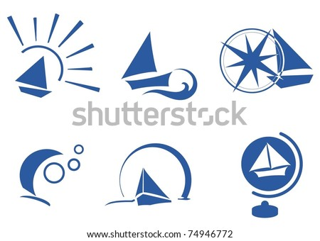 boat simple icon set - stock vector