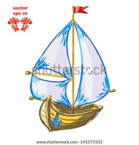 boat with sail isolated on white background sketch vector - stock vector
