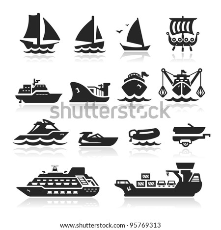 Boats and ships icons set - stock vector