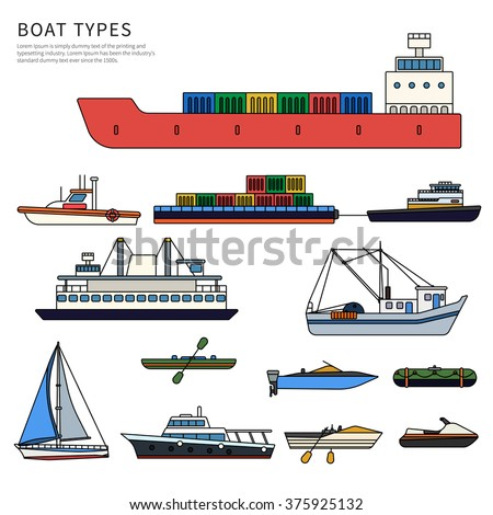 Collection ship cartoon you design stock vector 486393613 for Fishing boat types