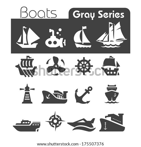 Boats Icons Gray series - stock vector
