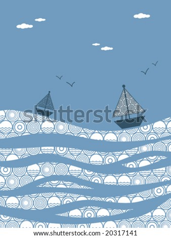 Boats on the Water - stock vector