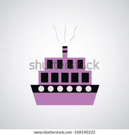 Boats symbol on gray background - stock vector