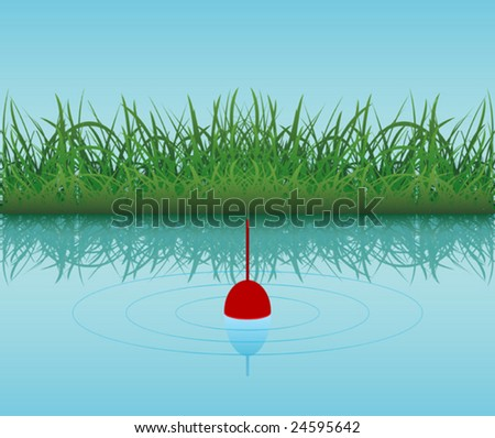 Bobber in the water over green grass. To see similar please visit my gallery - stock vector