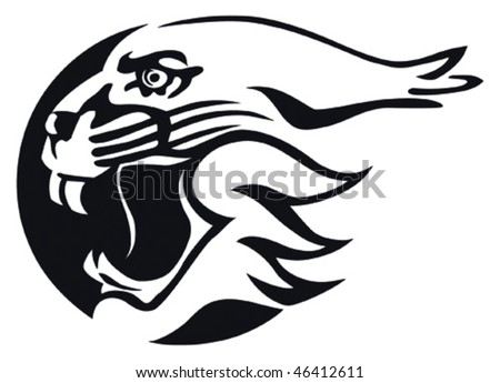 Bobcat with an open jaws in vector logo style