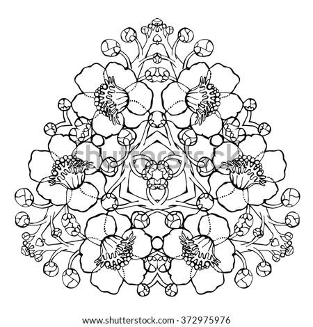 Bodhi Tree Mandala Large Flowers Of Sacred Fig Indian Plant Buddhism Enlightenment Symbol Spiritual