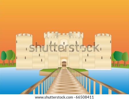 Bodiam castle at sundown ( background on separate layer ) - stock vector