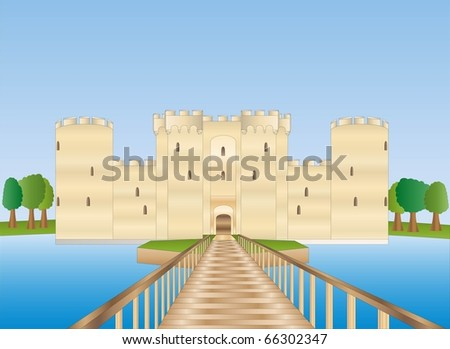 bodiam castle in sussex ( background on separate layer ) - stock vector
