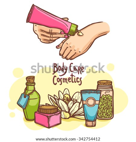 Body care luxury cosmetics products and perfume ad poster with female hands applying cream abstract vector illustration - stock vector