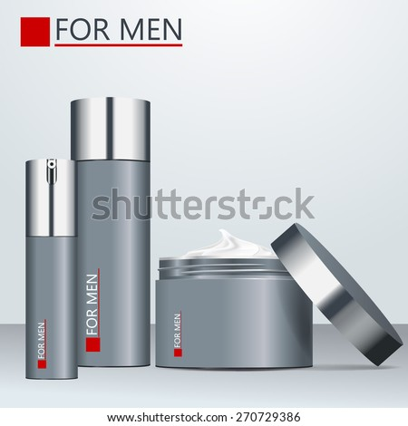 Body care products for men. Vector set. Grey design plastic package. Shaving foam, men's perfume, cream.  - stock vector