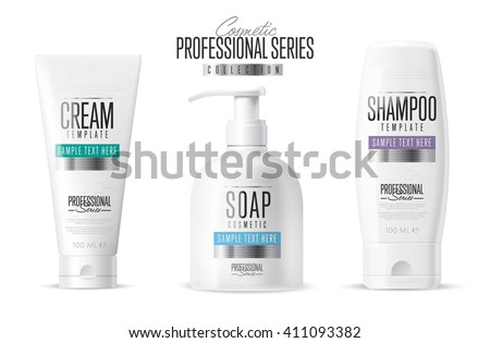 Body care professional series cosmetic brand concept. Tube cream, soap bottle, shampoo packaging. Body care vector template. Realistic cosmetic packaging isolated on white background. Cosmetic brand.