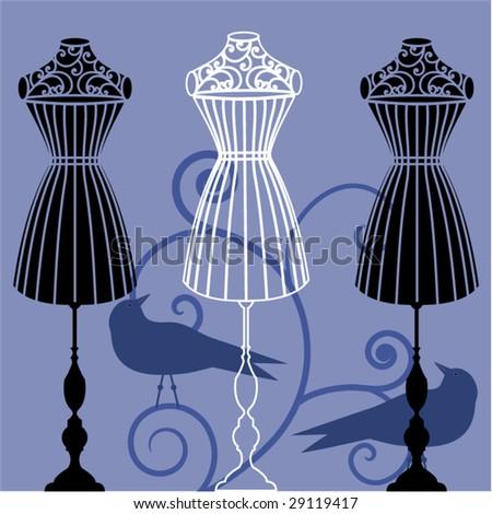 body dress form corset  mannequin - stock vector