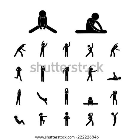 body exercise stick figure icon   - stock vector