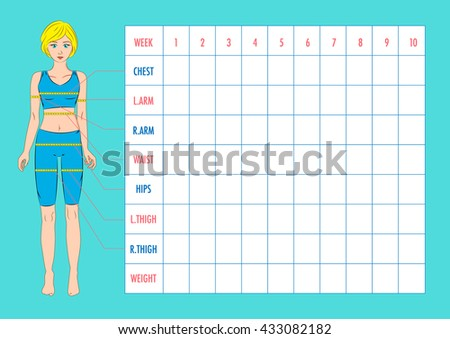 Measurement Chart Body Parameters Sport Diet Stock Vector