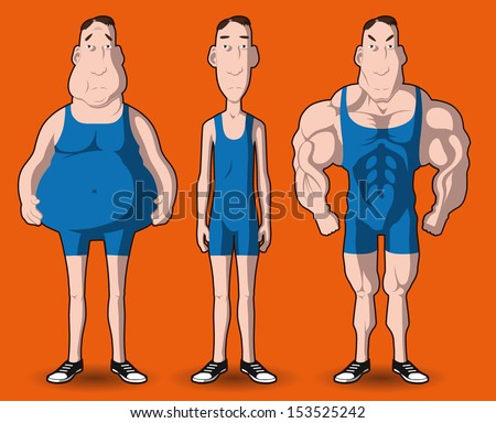 body transformation. the transformation of the body - fat to muscular. - stock vector