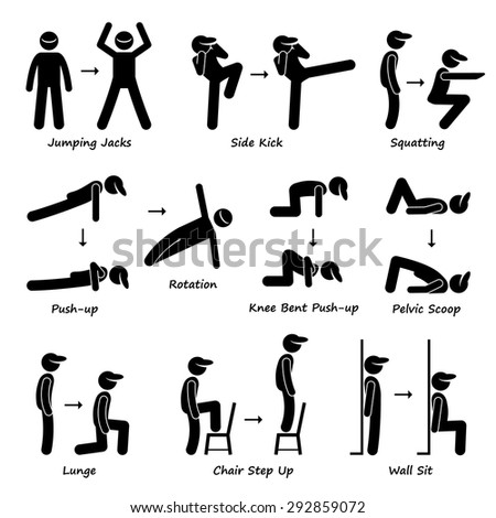 Body Workout Exercise Fitness Training (Set 1) Stick Figure Pictogram Icons - stock vector