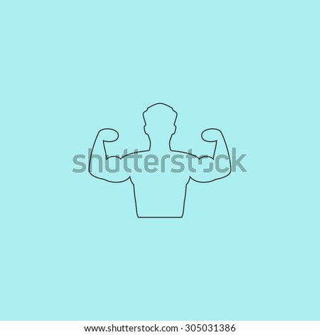 Bodybuilder Fitness Model. Simple outline flat vector icon isolated on blue background - stock vector