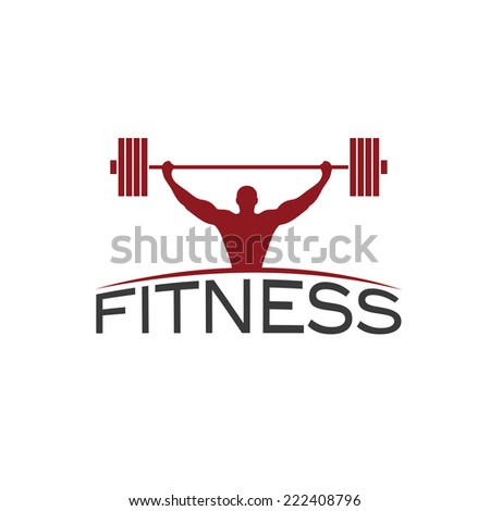 Bodybuilder Fitness Model with barbell silhouette vector design template - stock vector