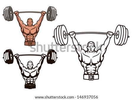 Bodybuilder with barbell for sports mascot or health concept design or idea of logo. Jpeg version also available in gallery - stock vector