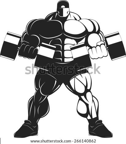 Bodybuilder with dumbbell - stock vector