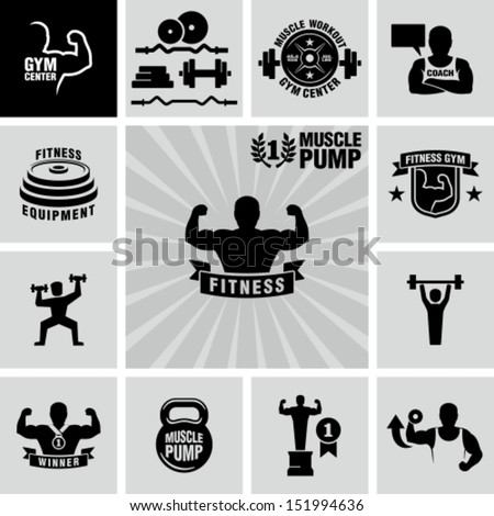 Bodybuilding fitness gym icons - stock vector