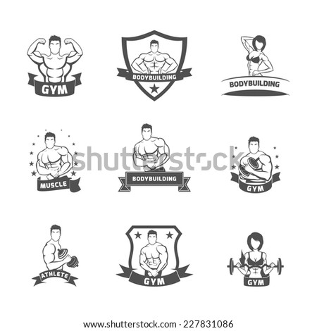 Bodybuilding fitness gym muscle athlete label black set isolated vector illustration - stock vector