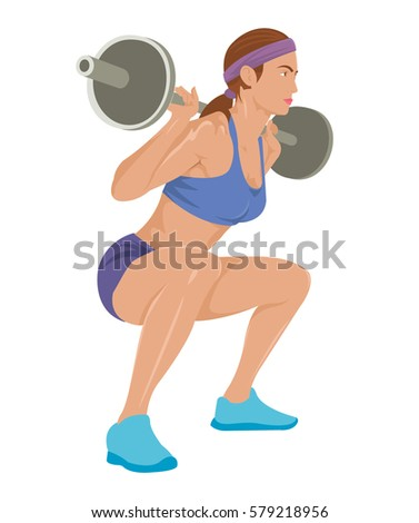 Squats Exercise Bearded Man Muscles Barbell Stock Vector