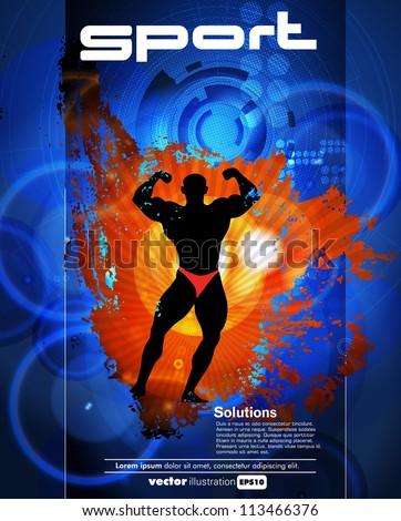 Bodybuilding poster - stock vector