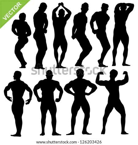 Bodybuilding silhouettes vector - stock vector