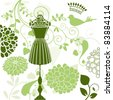 Bodyform mannequin with  crown foliage and  bird - stock vector