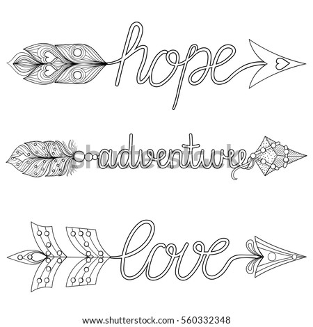 Bohemian Arrows Hand Painted Signs Boho Adventure Hope With Feathers Decorative American Native