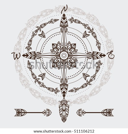 Bohemian Compass In A Vintage Boho And Tribal Style Vector Illustration Good