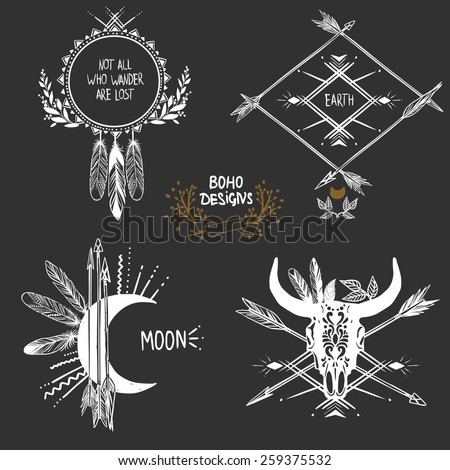 Bohemian designs. Vector set. - stock vector