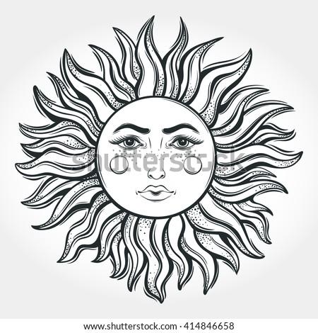 Bohemian Hand Drawn Sun Tattoo DesignVector Illustration Alchemy Symbol