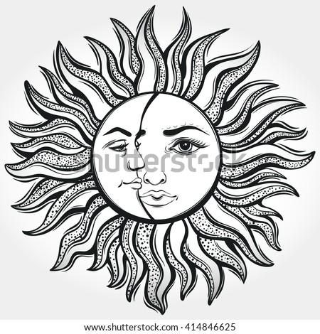 Bohemian Sun And Moon Tattoo DesignVector Illustration Alchemy Symbol