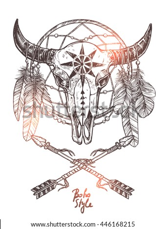 Boho Sketch Illustration Hand Drawn Bull Stock Vector