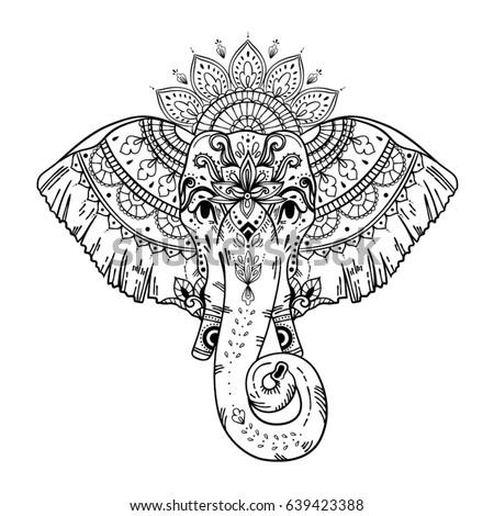 Boho Style Elephant Face T Shirt