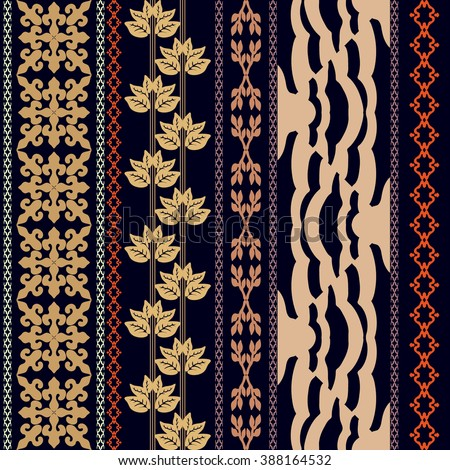 Boho style luxury wallpaper. Set of geometric ornaments, damask border, leaves stripe, zebra pattern. Vintage textile collection. Golden and cooper shadows on dark blue. - stock vector