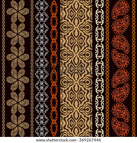 Boho style seamless wallpaper with fantasy ethnic motifs, animal print and Art Deco elements. Abstract geometrical vector pattern. Safari collection. Dark brown. Backgrounds & textures shop. - stock vector