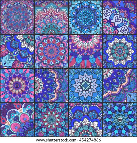 Boho tile set and seamless pattern. Blue pink patchwork fabric, furniture print, wallpaper, fashionable textile. Square design elements. Unusual flower ornament. Vector oriental mandala background. - stock vector