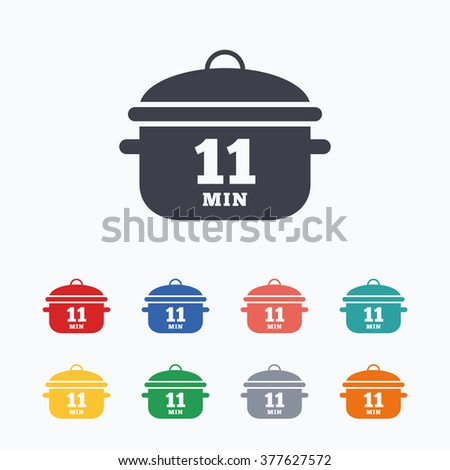 Boil 11 minutes. Cooking pan sign icon. Stew food symbol. Colored flat icons on white background. - stock vector