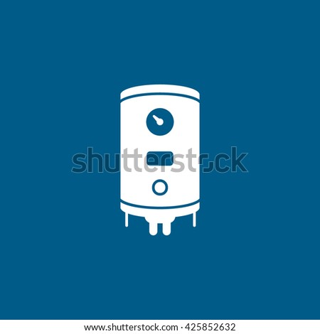 Boiler Flat Icon On Blue Background
